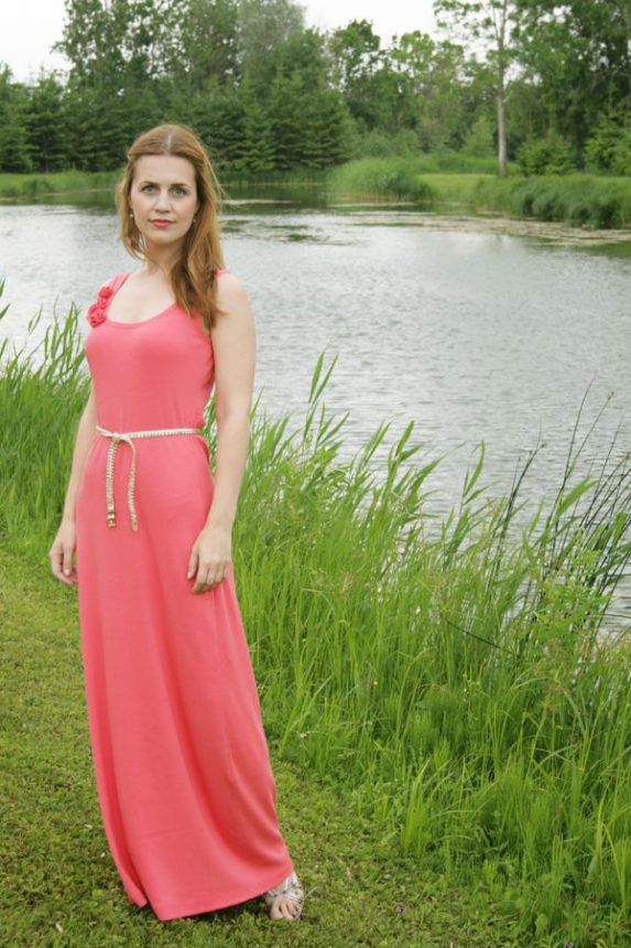 How to make pattern and sew an easy ALine dress with ...