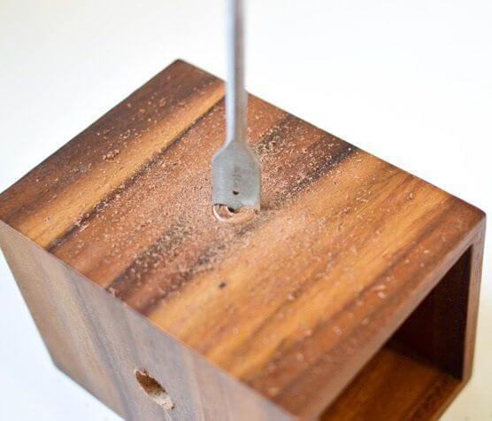 Como hacer una lampara de cobre y madera 5