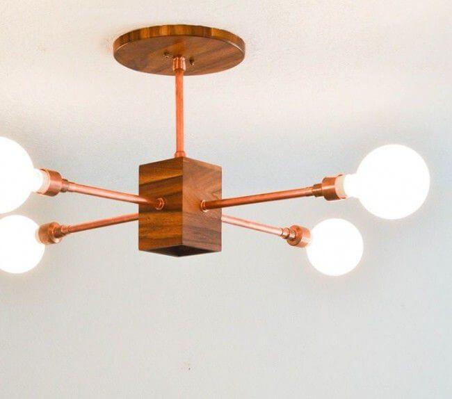 Como hacer una lampara de cobre y madera