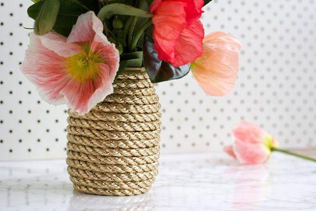 hacer un florero con cuerda