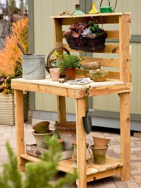 Mueble de jardin con palets reciclados