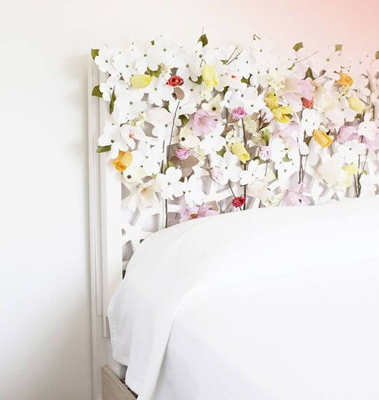 Como hacer un respaldar de cama con floress